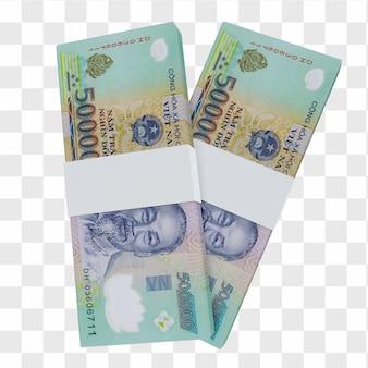 Waluta wietnamska dong 50.000: stos banknotów vnd vietnam