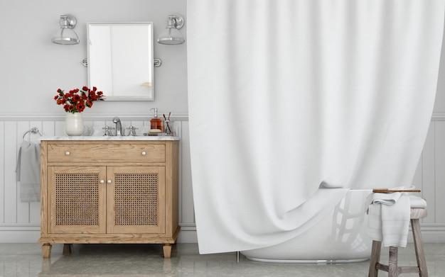 Wanna z zasłoną i umywalką na szafce