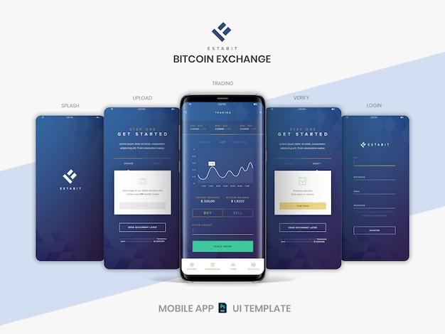 Warstwowy szablon układu ekranów aplikacji mobilnych psd do handlu kryptowalutami, kupowania i sprzedawania usługi bitcoin.