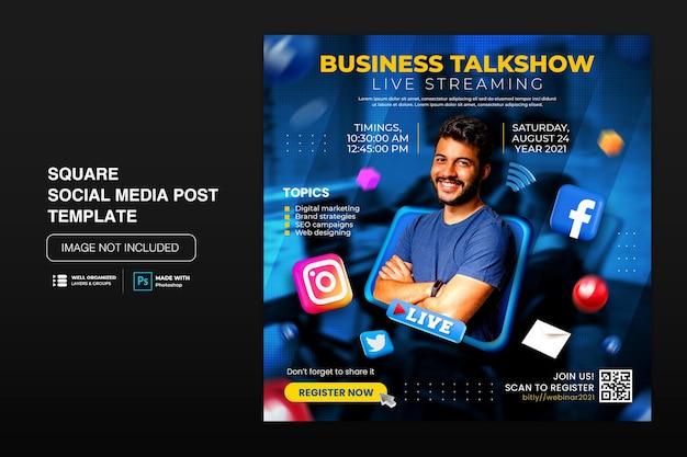 Warsztaty transmisji na żywo instagram post szablon postu w mediach społecznościowych