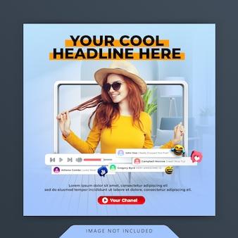 Warsztaty youtube na żywo dla szablonu postów na instagramie w mediach społecznościowych