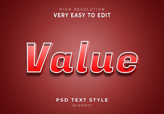 Wartość niesamowity efekt tekstowy 3d