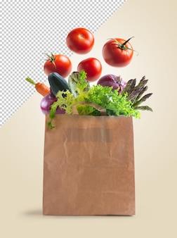 Warzywa w papierowej torbie nadającej się do recyklingu