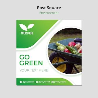 Warzywa w szablonie kwadratowych post taczki