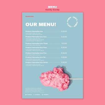 Wata cukrowa na szablonie menu restauracji kij