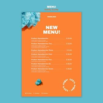 Wata cukrowa na szablonie wydruku menu restauracji stick
