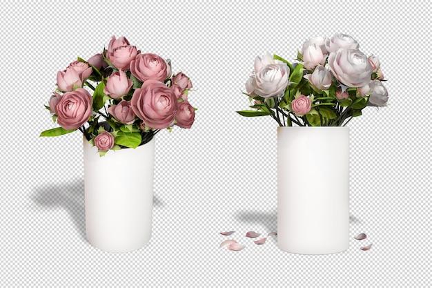 Wazon róż w renderowaniu 3d izolować