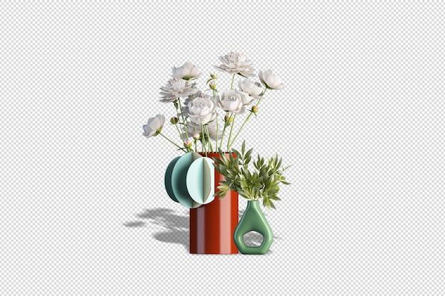 Wazony z suszonymi kwiatami w renderowaniu 3d