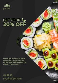 Web banner szablon dla japońskiej restauracji