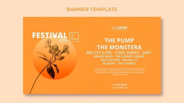 Web banner szablon z koncepcją festiwalu wiosny