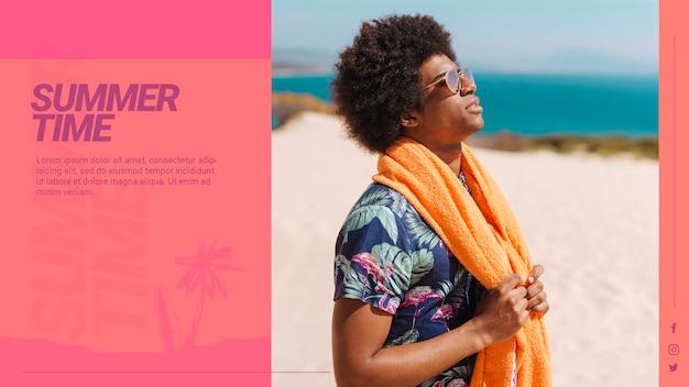 Web banner szablon z koncepcją lato