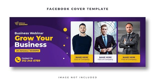 Webinar biznesowy szablon banera internetowego na okładkę na facebooku