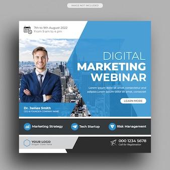 Webinar dotyczący marketingu cyfrowego szablon postu w mediach społecznościowych