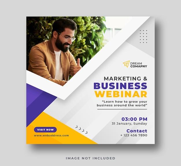 Webinar na temat marketingu cyfrowego post w mediach społecznościowych i baner internetowy lub ulotka kwadratowa