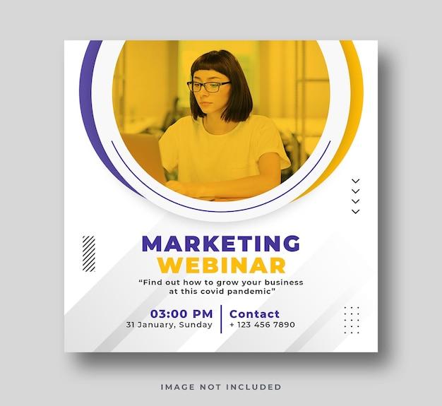 Webinar na temat marketingu cyfrowego post w mediach społecznościowych i baner internetowy