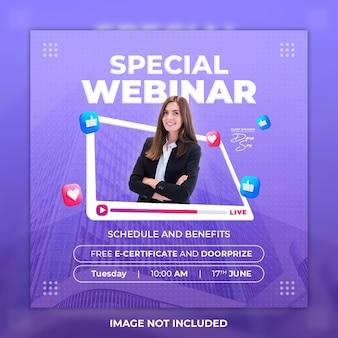 Webinar post w mediach społecznościowych i szablon postu na instagramie