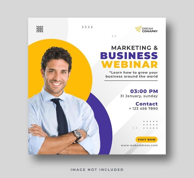 Webinarium biznesowe w mediach społecznościowych post na instagramie