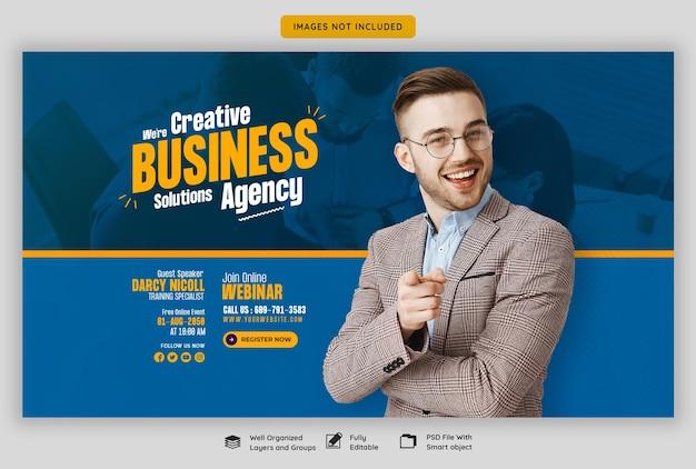 Webinarium na żywo z marketingu cyfrowego i szablon korporacyjnego banera internetowego