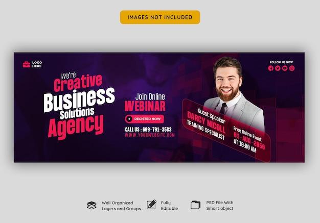Webinarium na żywo z marketingu cyfrowego i szablon okładki na facebooku