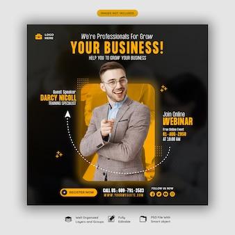 Webinarium na żywo z marketingu cyfrowego i szablon postu w mediach społecznościowych