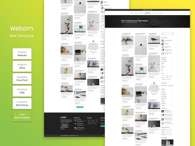 Weborn szablon sieciowy strony kategorii osobistego bloga