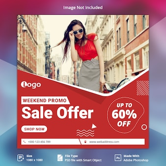 Weekendowa oferta sprzedaży instagram post lub kwadratowy szablon banner