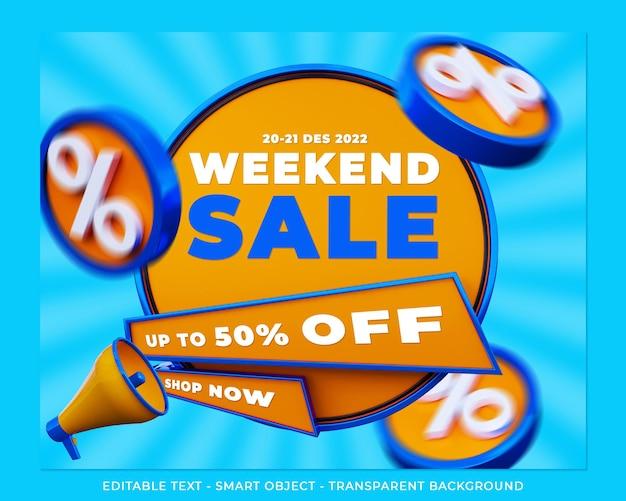 Weekendowa wyprzedaż banner 3d promocja post w mediach społecznościowych