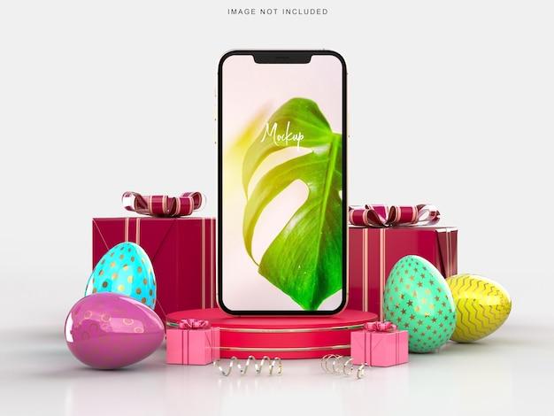 Wesołego alleluja! makieta kreatywnych smartfonów wielkanocnych