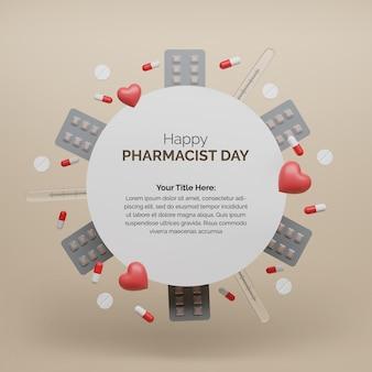 Wesołego dnia aptekarza świętuj z ikoną leków 3d
