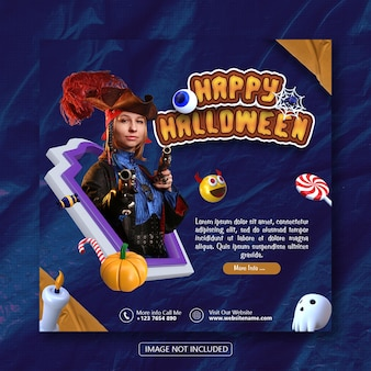 Wesołego halloween szablon banera społecznościowego z renderowaniem obiektów 3d premium psd