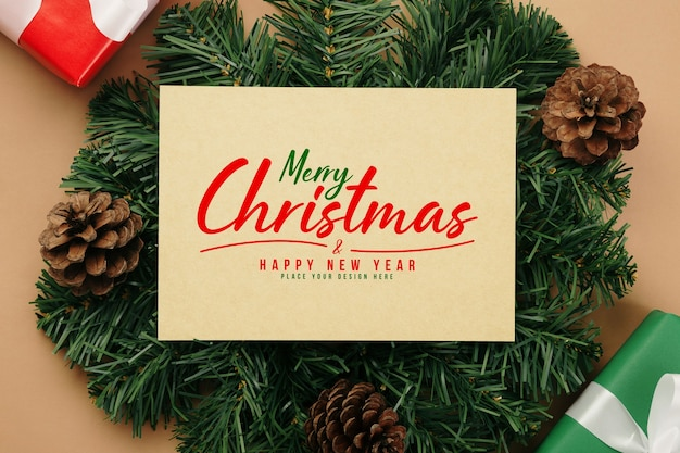 Wesołych świąt bożego narodzenia makieta kartka z życzeniami