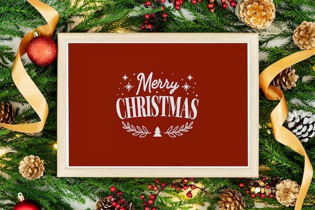 Wesołych świąt bożego narodzenia pozdrowienia w makieta ramki