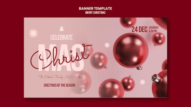 Wesołych świąt bożego narodzenia poziomy baner
