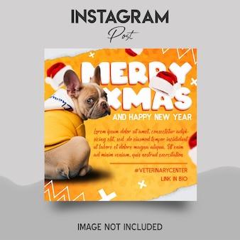 Wesołych świąt bożego narodzenia szablon postu na instagramie