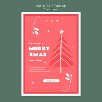 Wesołych świąt bożego narodzenia szablon ulotki