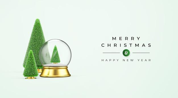 Wesołych świąt i szczęśliwego nowego roku makieta z dekoracją świąteczną 3d