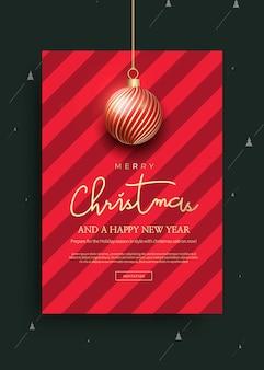 Wesołych świąt i szczęśliwego nowego roku szablon karty z pozdrowieniami