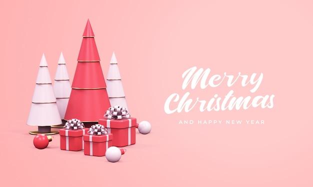Wesołych świąt i szczęśliwego nowego roku z sosnami, pudełkami na prezenty i makietą bombek