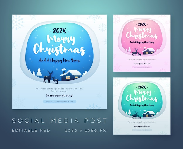 Wesołych świąt i szczęśliwego nowego roku życzenia szablon mediów społecznościowych