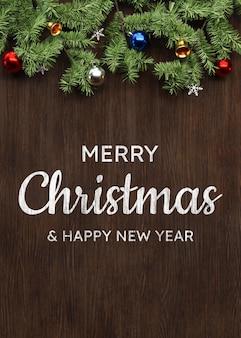 Wesołych świąt makieta tła z dekoracją