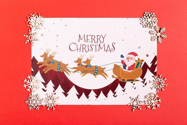 Wesołych świąt makiety z słodkie srebrne płatki śniegu