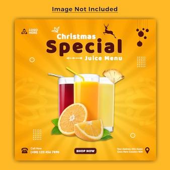 Wesołych świąt pomarańczowy napój sok social media banner post szablon projektu