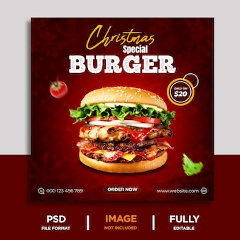 Wesołych świąt specjalne menu z jedzeniem i szablon baneru z pysznym burgerem w mediach społecznościowych premium