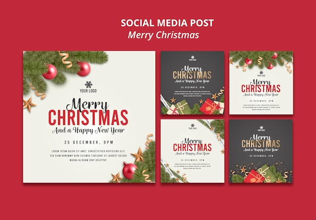 Wesołych świąt szablon postu w mediach społecznościowych