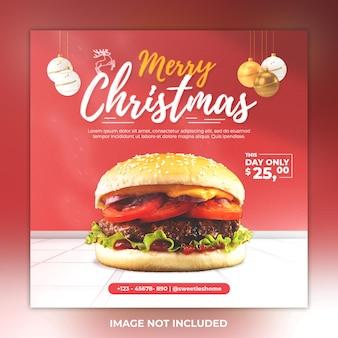 Wesołych świąt w mediach społecznościowych post jedzenie i burger