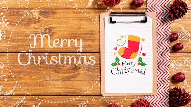 Wesołych świąt z makietą świątecznego schowka