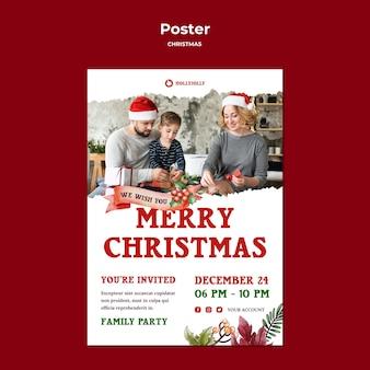 Wesołych świąt z szablonem wydruku plakatu rodzinnego