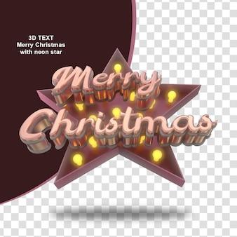 Wesołych świąt z tekstem 3d neonowej gwiazdy