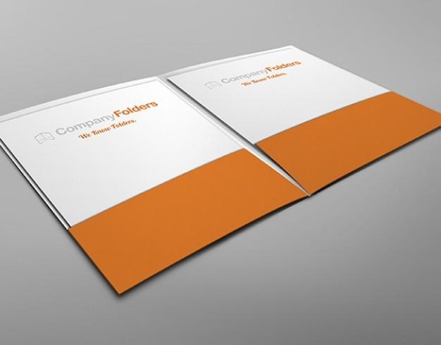 Wewnątrz kieszeń na widok dwóch folderów makieta szablon darmowe psd
