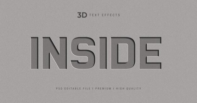 Wewnątrz szablonu efektu stylu tekstu 3d